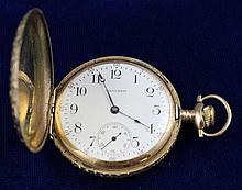 WALTHAM 14K YELLOW GOLD HUNTER CASE 17 JEWELS #18410680 POCKET WATCH, 50 MM DIAMETER