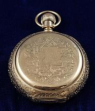 14K YELLOW GOLD AMERICAN WALTHAM APPLETON TRACEY OPEN FACE #3120906 POCKET WATCH, 52 MM DIAMETER