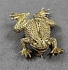 STAMPED 14K YELLOW GOLD FROG PIN, 1 1/4