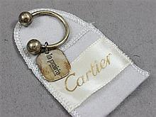 STAMPED CARTIER STERLING SILVER KEY CHAIN WITH POUCH 2 1/8