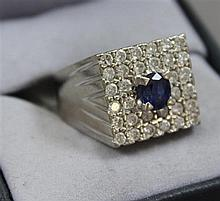 UNMARKED WHITE GOLD SQUARE TOP SAPPHIRE RING WITH SURROUNDING DIAMONDS, SIZE 9, 12.3 GRAMS TOTAL SAPPHIRE HAS CRACK