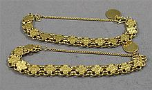 TWO STAMPED ASIAN CHARACTER OR 999 YELLOW GOLD TONE LINK BRACELETS, 6