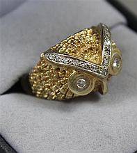 STAMPED 14K YELLOW GOLD OWL RING WITH DIAMOND ACCENTS, SIZE 7,  9.5 GRAMS TOTAL