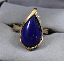 STAMPED 585, 14K YELLOW GOLD LAPIS LAZULI FASHION RING, SIZE 10,   4.8 GRAMS TOTAL