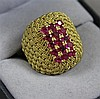 STAMPED 750, 18K YELLOW GOLD  BASKET WEAVE DSING FASHION RING WITH RUBBY ACCENTS, SIZE 6 3/4, 8.8 GRAMS TOTAL