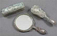 THREE PIECE GORHAM STERLING SILVER DRESSER SET WITH BRUSHES AND HAND MIRROR, MONOGRAMMED ON BRUSHES