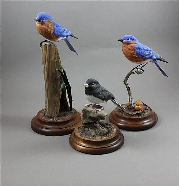(3) KATHY BOYLE WOODEN BLUEBIRDS AND SNOWBIRDS