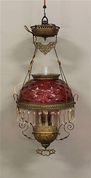 BRASS VICTORIAN HANGING LIGHT WITH CRANBERRY SHADE