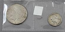 1923S PEACESILVER DOLLAR AND 1954 WASHINGTON SILVER QUARTER