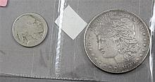 1879 MORGAN SILVER DOLLAR, NO DATE BUFFALO NICKEL