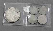 1880 MORGAN SILVER DOLLAR AND (4) SPANISH 5 PESETA COINS