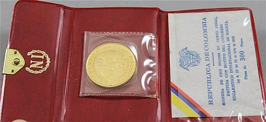 1968 COLUMBIAN 300 PESOS 90% GOLD PROOF