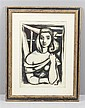 WILHELM DRIXELIUS (1910-1977, GERMAN) PORTRAIT OF YOUNG WOMAN, LINO CUT PRINT