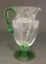 HEISEY FAIRACRE D.O. 3 PT HANDLED JUG WITH MOONGLEAM FOOT AND HANDLE