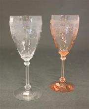 2 HEISEY OLD DOMINION D.O. 10 OZ TALL STEM GOBLETS WITH EMPRESS ETCH IN FLAMINGO, CRYSTAL