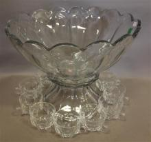 23 PIECE HEISEY PURITAN PUNCH BOWL SET INCLUDING BASE AND 21 CUPS