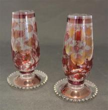 PAIR IMPERIAL CANDLEWICK HURRICANE LIGHT CANDLESTICKS WITH IVY DESIGN IN CRANBERRY STAIN