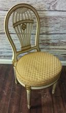 FEDERAL STYLE CHAIR WITH SHELL AND MEDALLION BACK , PAINTED WITH GOLD DECORATION AND PINK UPHOLSTERED SEAT, 37