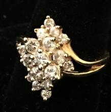 STAMPED 14K YELLOW GOLD DIAMOND CLUSTER RING, SIZE 5 1/4, 3.4 GRAMS TOTAL