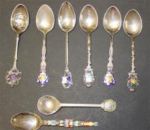 8 STERLING SILVER SOUVENIR SPOONS WITH ENAMELED DECORATION, 4 3/4