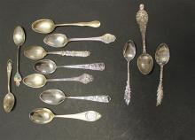 12 STERLING SILVER DEMITASSE SPOONS, MOSTLY SOUVENIR, 3 3/4