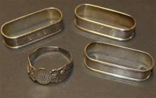 4 STERLING SILVER NAPKIN RINGS, ALL MONOGRAMMED, 3.31 TROY OZ