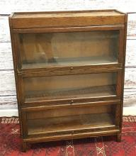 OAK TURN OF THE CENTURY 3-SECTION BARRISTER BOOKCASE, 34