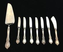 8 PIECES TOWLE STERLING SILVER HANDLED BUTTER AND SERVING KNIVES