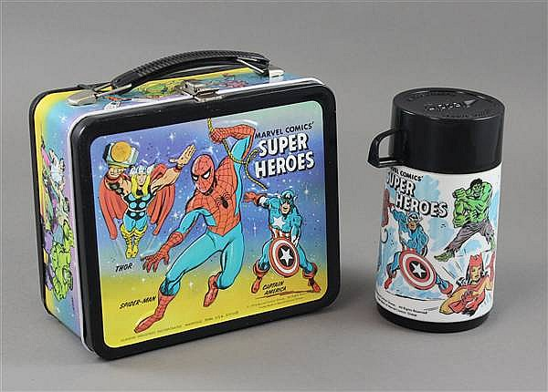 VINTAGE METAL LUNCH BOX, MARVEL SUPER HEROES WITH THERMOS AND TAG