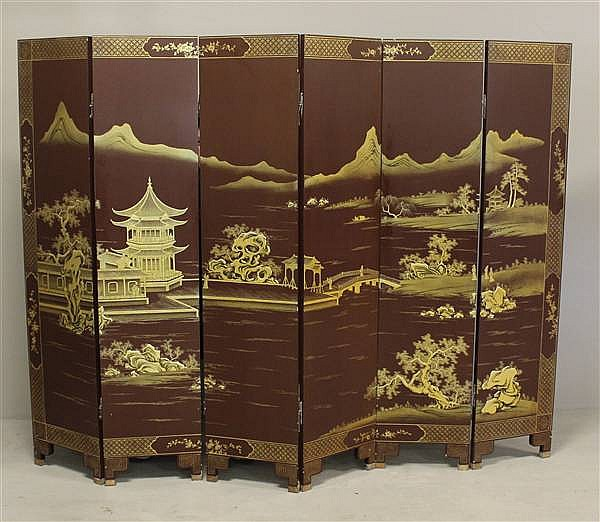 ASIAN SIX PART FOLDING SCREEN
