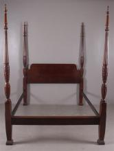 FOUR POSTER CARVED BED WITH METAL RAILS, 61