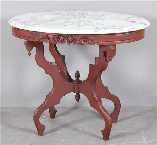 Walnut Victorian Oval Parlor Table With White Marble Top 34