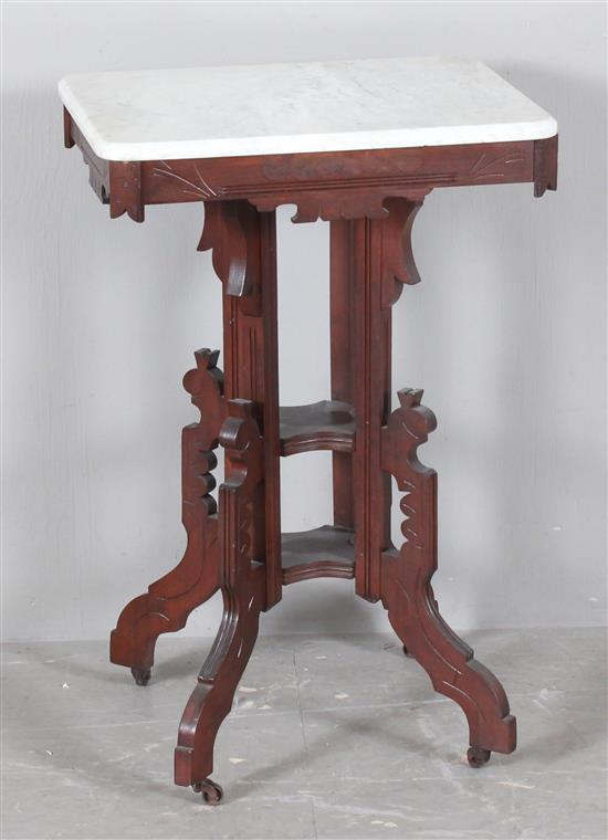 Walnut Victorian Parlor Table With White Marble Top 20 X 1