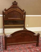 WALNUT VICTORIAN FULL SIZE HIGH BACK BED WITH RAILS, 58