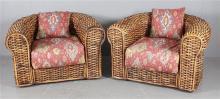 2 RALPH LAUREN OVERSIZE WICKER WRAP-AROUND CLUB CHAIRS WITH UPHOLSTERED CUSHIONS, 46