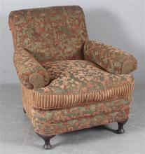 KITTLES HUDSON CHAIR AND OTTOMAN, OLIVE GREEN CHENILLE UPHOLSTERY, 36
