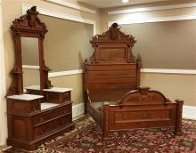 2 PIECE WALNUT VICTORIAN RENAISSANCE BEDROOM SUITE, WITH TRIPLE MARBLE DROP-CENTER DRESSER, HIDDEN COMPARTMENT ON FOOTBOARD, HEADBOA...