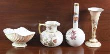 4 PIECES ROYAL WORCESTER PORCELAIN INCLUDING VASES, CREAMER, AND OVAL DISH, 2 1/2