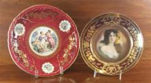 2 CHINA PLATES INCLUDING AUSTRIAN PORTRAIT PLATE (BEE HIVE MARK) AND GERMAN, 9