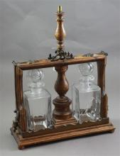 TANTALUS LIQUOR CADDY WITH TWO GLASS BOTTLES, 14
