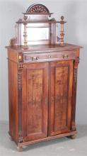 WALNUT 19TH CENTURY FRENCH ARMOIRE WITH BURLED FRONT AND MIRROR TOP, 37