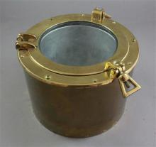 BRASS PORTHOLE ICE BUCKET WITH METAL LINER, 10.5
