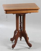 WALNUT EASTLAKE VICTORIAN PARLOR STAND - Carved legs with turned center post