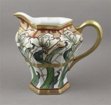 HAND PAINTED NIPPON PITCHER WITH ENAMELED AND GOLD DECOR