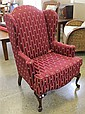 KEY CITY FURNITURE BURGANDY UPHOLSTERY WING ACK CHAIR