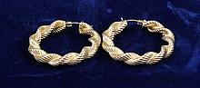 PAIR 14K YELLOW GOLD ROPE STYLE HOOP EARRINGS, 1 1/2