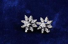 PAIR WHITE GOLD DIAMOND CLUSTER STUD EARRINGS, 1/2 DIAMETER ~ 3.3 GRAMS TOTAL