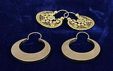 TWO PAIRS YELLOW GOLD HOOP EARRINGS, INCLUDING 14K, 1 1/2