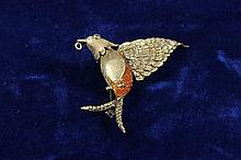 14K YELLOW GOLD HUMMINGBIRD PIN WITH ENAMELED ACCENTS, 2 3/4