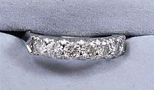 PLATINUM BAND WITH 7 DIAMONDS .88 CTW, SIZE 5 REPLACEMENT VALUE $1,327.00 ~  4.6 GRAMS TOTAL